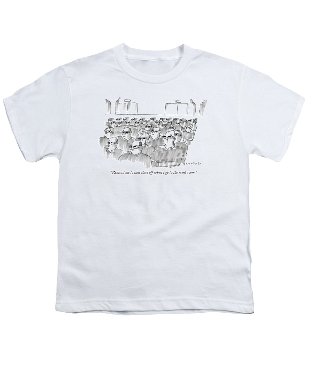 Senility Youth T-Shirt featuring the drawing Remind Me To Take These Off When I Go by Michael Crawford