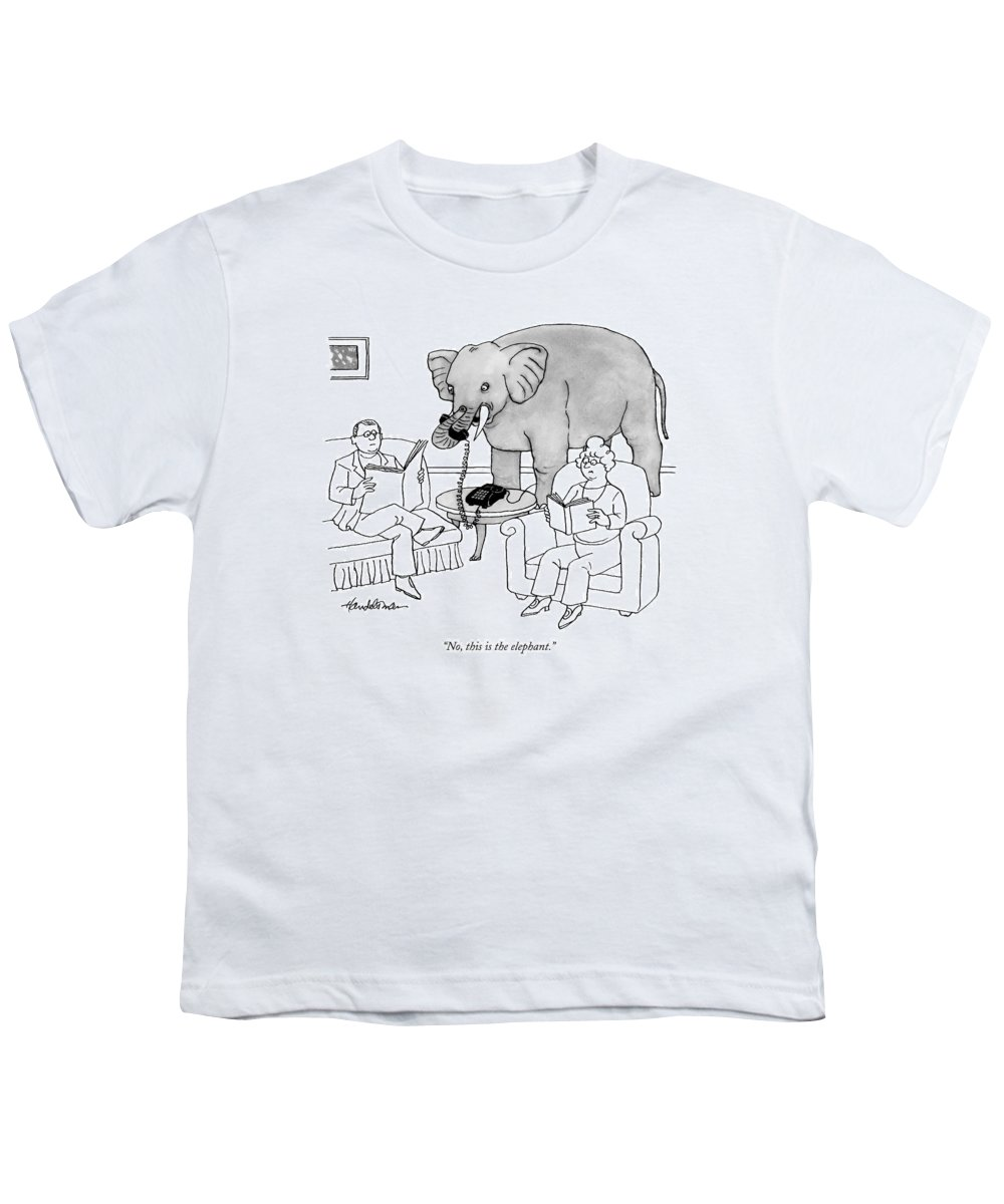 Elephants Talking Pets   (elephant Answering A Phone In A Living Room.) 121678 Jha J.b. Handelsman Youth T-Shirt featuring the drawing No, This Is The Elephant by J.B. Handelsman
