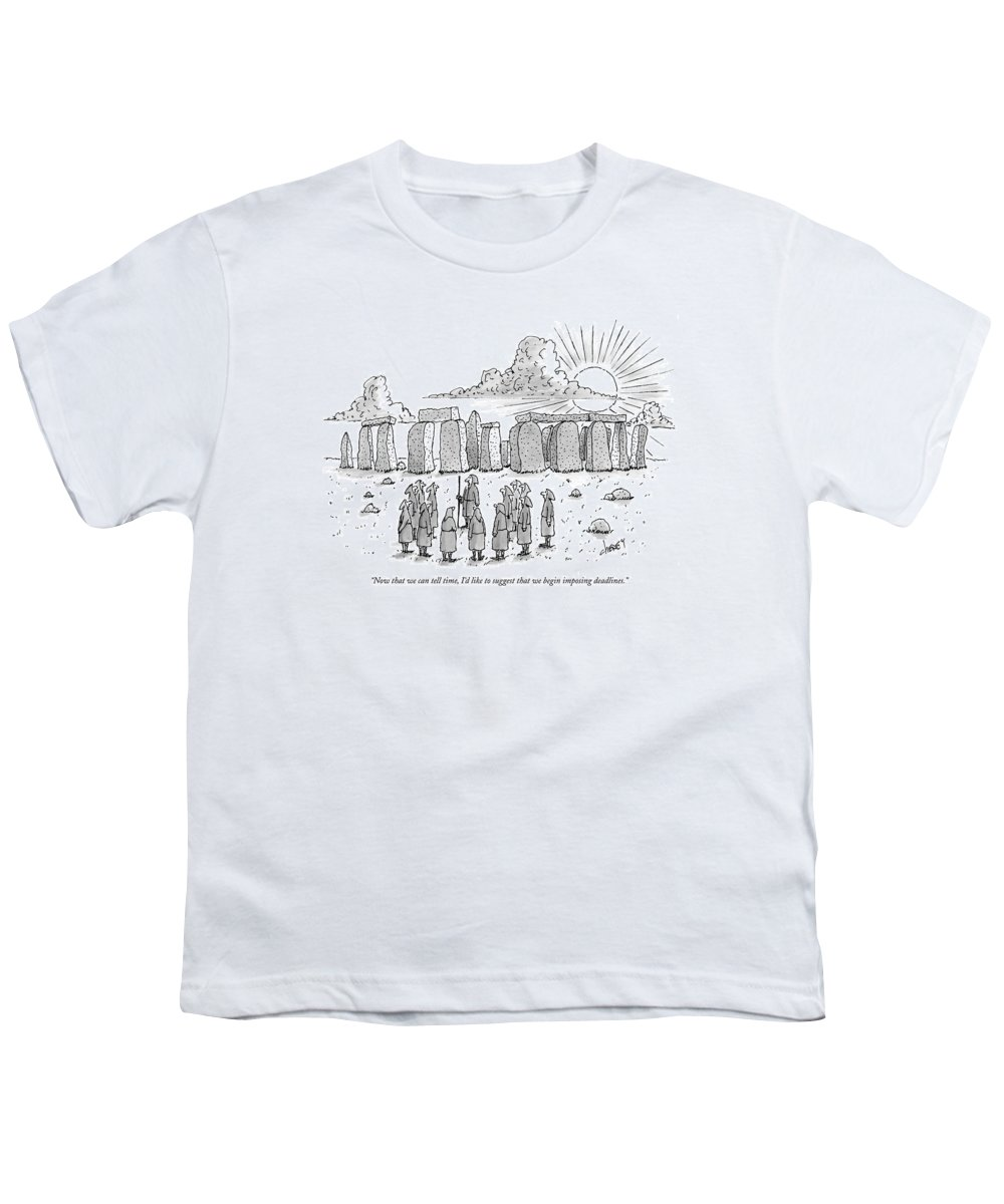 Ancient History Regional England Business Youth T-Shirt featuring the drawing Now That We Can Tell Time by Tom Cheney