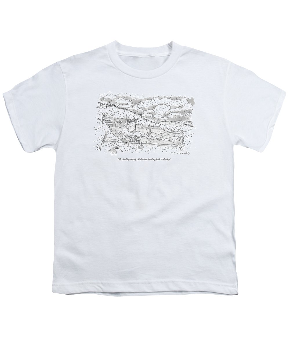 Seasons Winter Problems Vacations Leisure  (couple In Their Bathing Suits Youth T-Shirt featuring the drawing We Should Probably Think About Heading Back by Michael Crawford