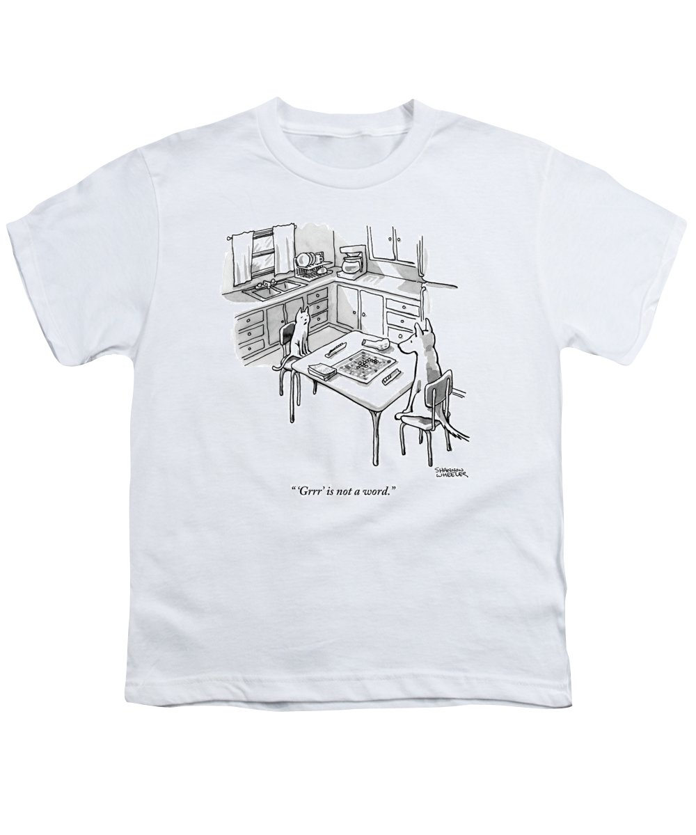 'grrr' Is Not A Word. Youth T-Shirt featuring the drawing A Cat And Dog Play Scrabble In A Kitchen. 'grrr' by Shannon Wheeler