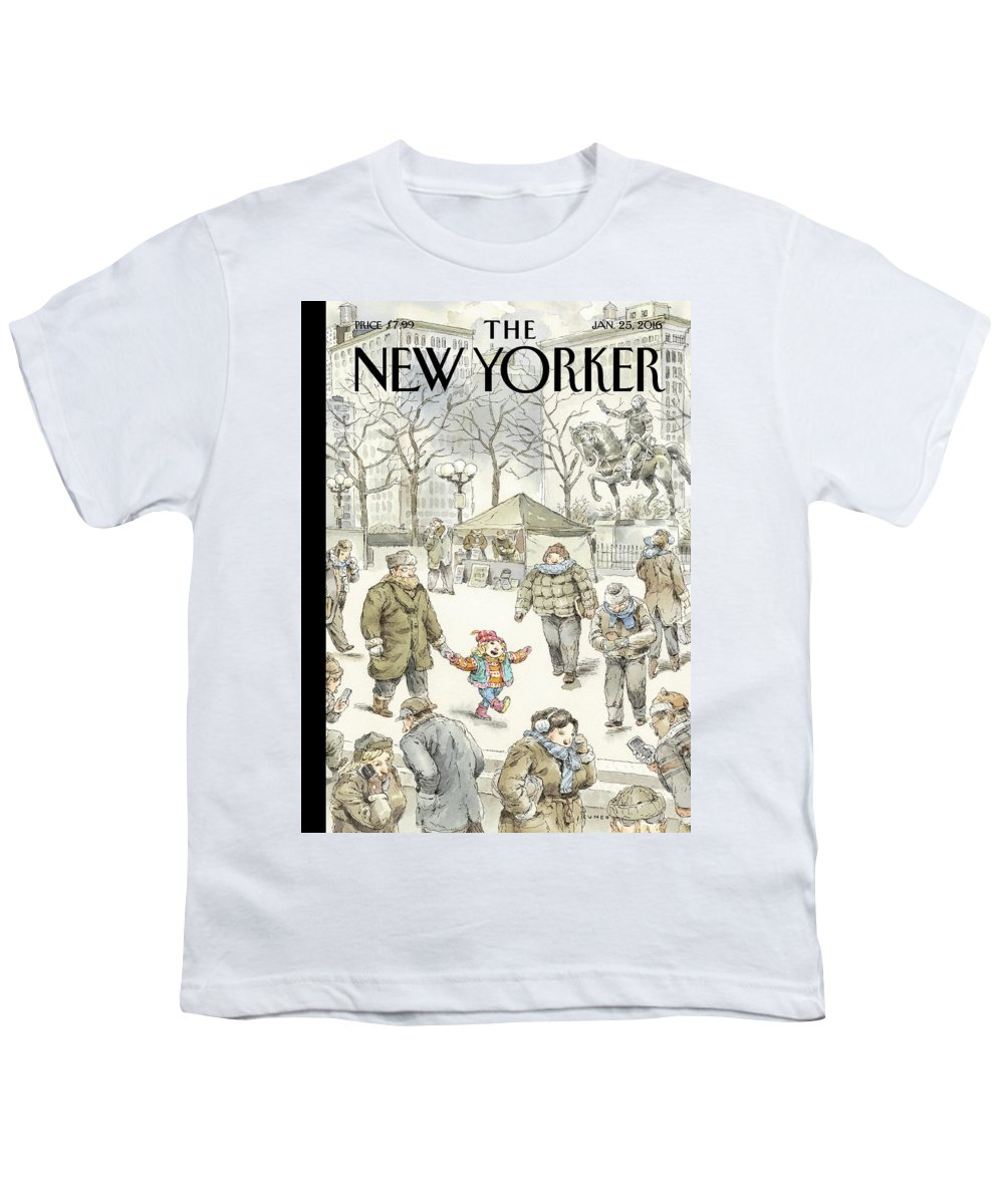 Child Youth T-Shirt featuring the painting Winter Delight by John Cuneo