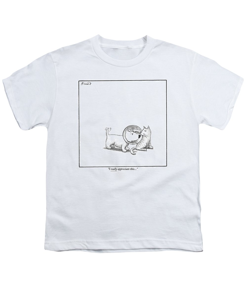 Dogs With Cats Youth T-Shirt featuring the drawing A Dog With A Neck Cone Is Having His Head by Harry Bliss