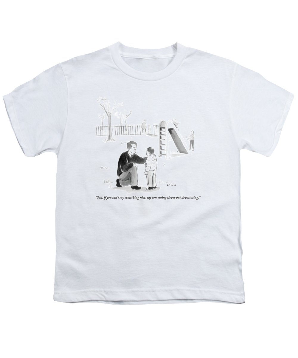 Advice Youth T-Shirt featuring the drawing A Father Encourages His Son At The Playground by Emily Flake
