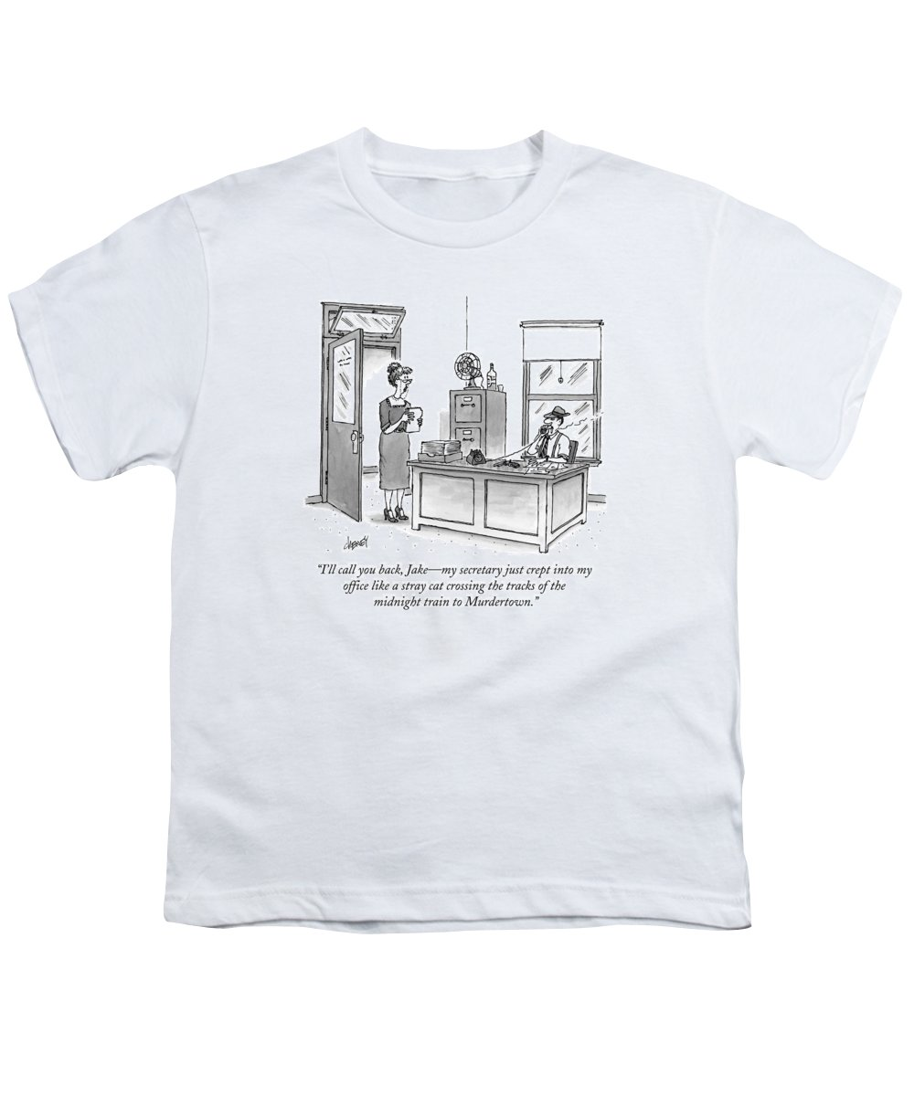 Raymond Chandler Youth T-Shirt featuring the drawing A Film Noir Detective Speaks On The Phone by Tom Cheney
