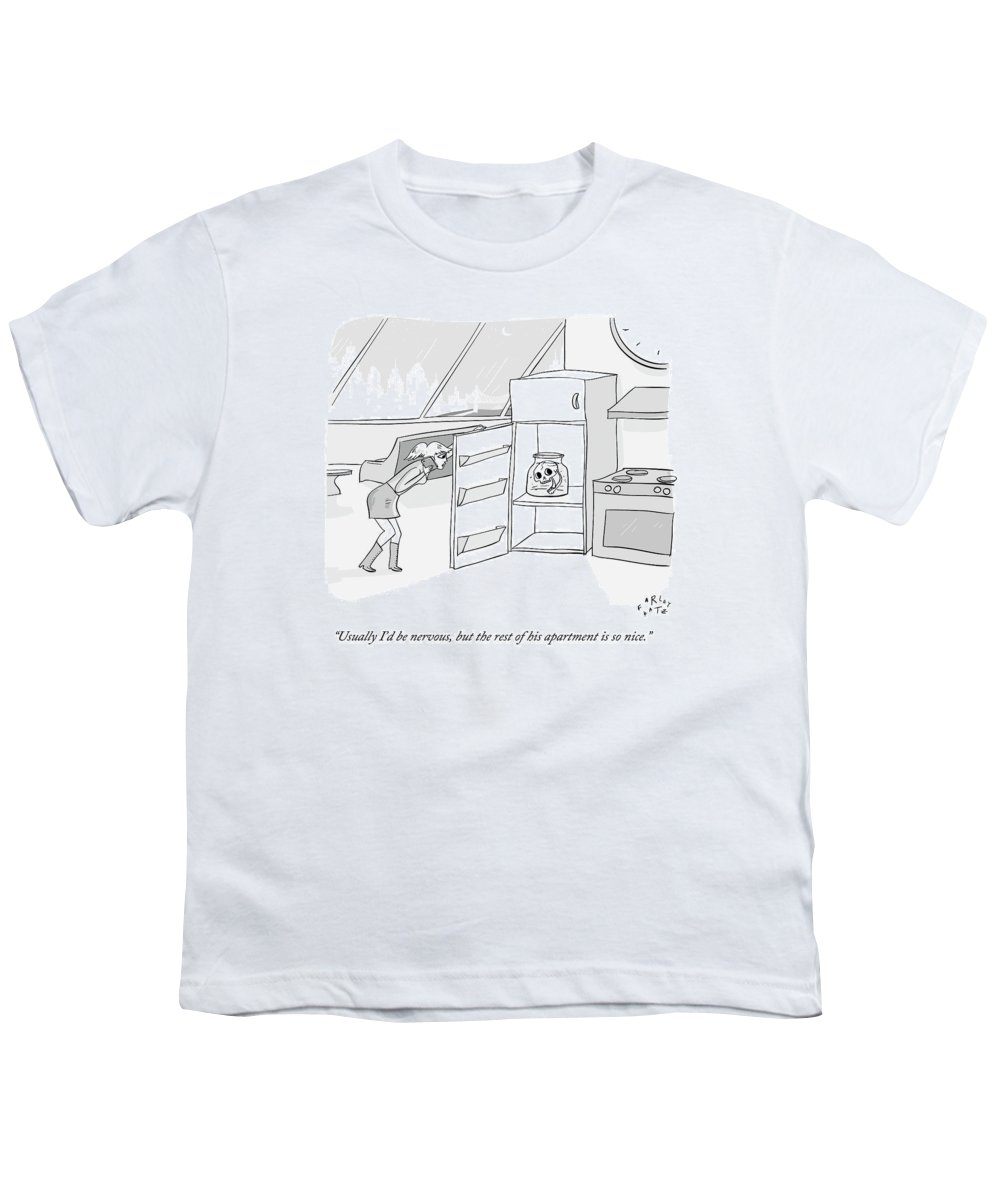 Date Youth T-Shirt featuring the drawing A Girl Who Is Talking On The Phone Opens A Fridge by Farley Katz