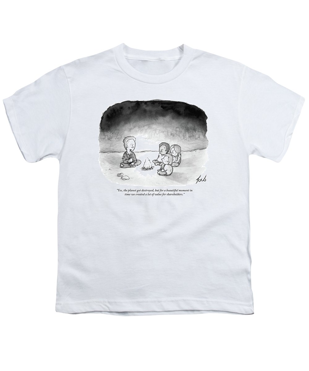Yes Youth T-Shirt featuring the drawing A Man And 3 Children Sit Around A Fire by Tom Toro