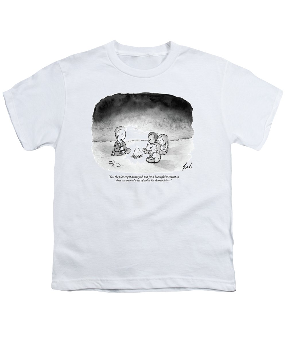 Armageddon Youth T-Shirt featuring the drawing A Man And 3 Children Sit Around A Fire by Tom Toro