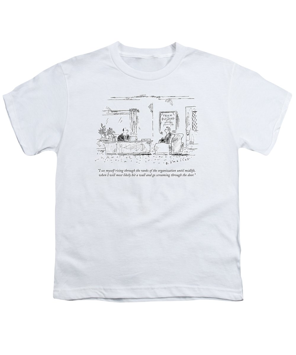 #condenastnewyorkercartoon Youth T-Shirt featuring the drawing A Man Interviews For A Job by Barbara Smaller