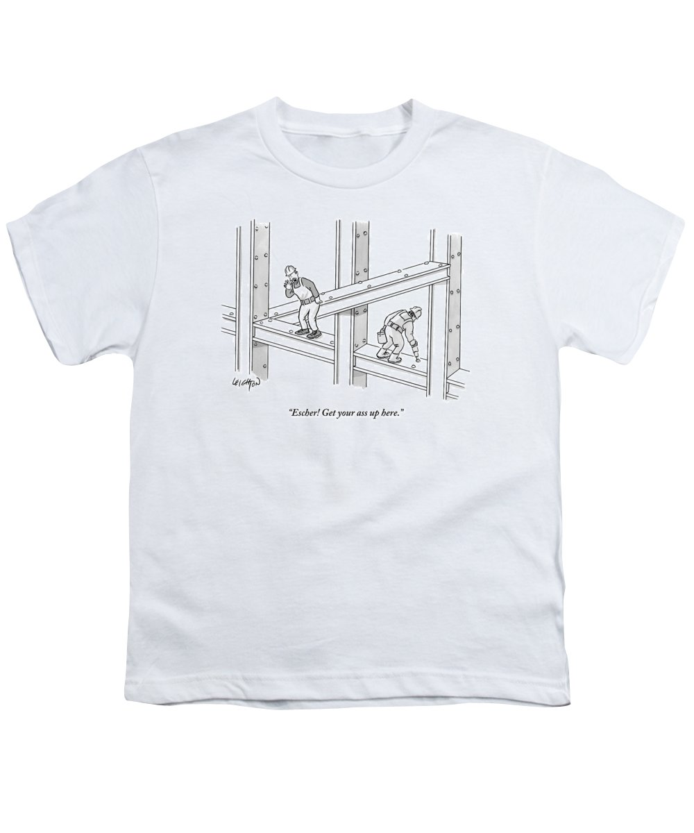 Construction Youth T-Shirt featuring the drawing A Men Works On The Sky Scraper Beams by Robert Leighton