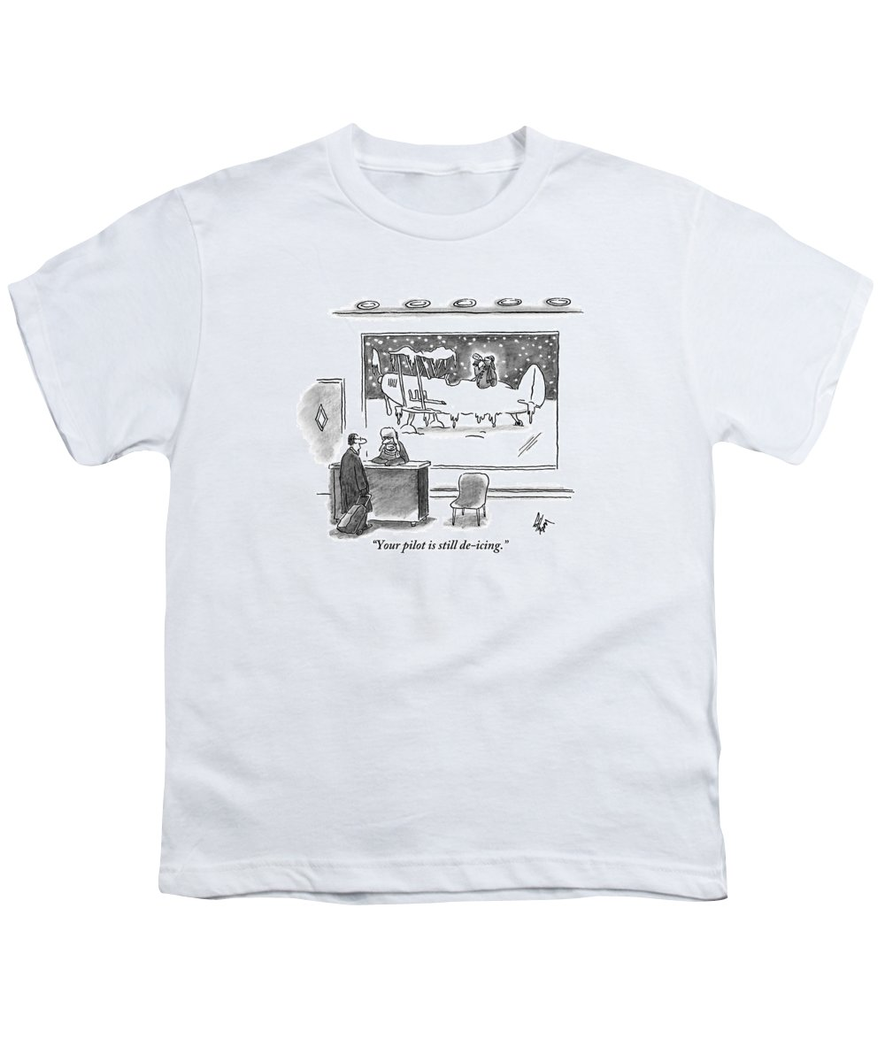 Pilots Youth T-Shirt featuring the drawing A Passenger Watches An Airplane In The Freezing by Frank Cotham