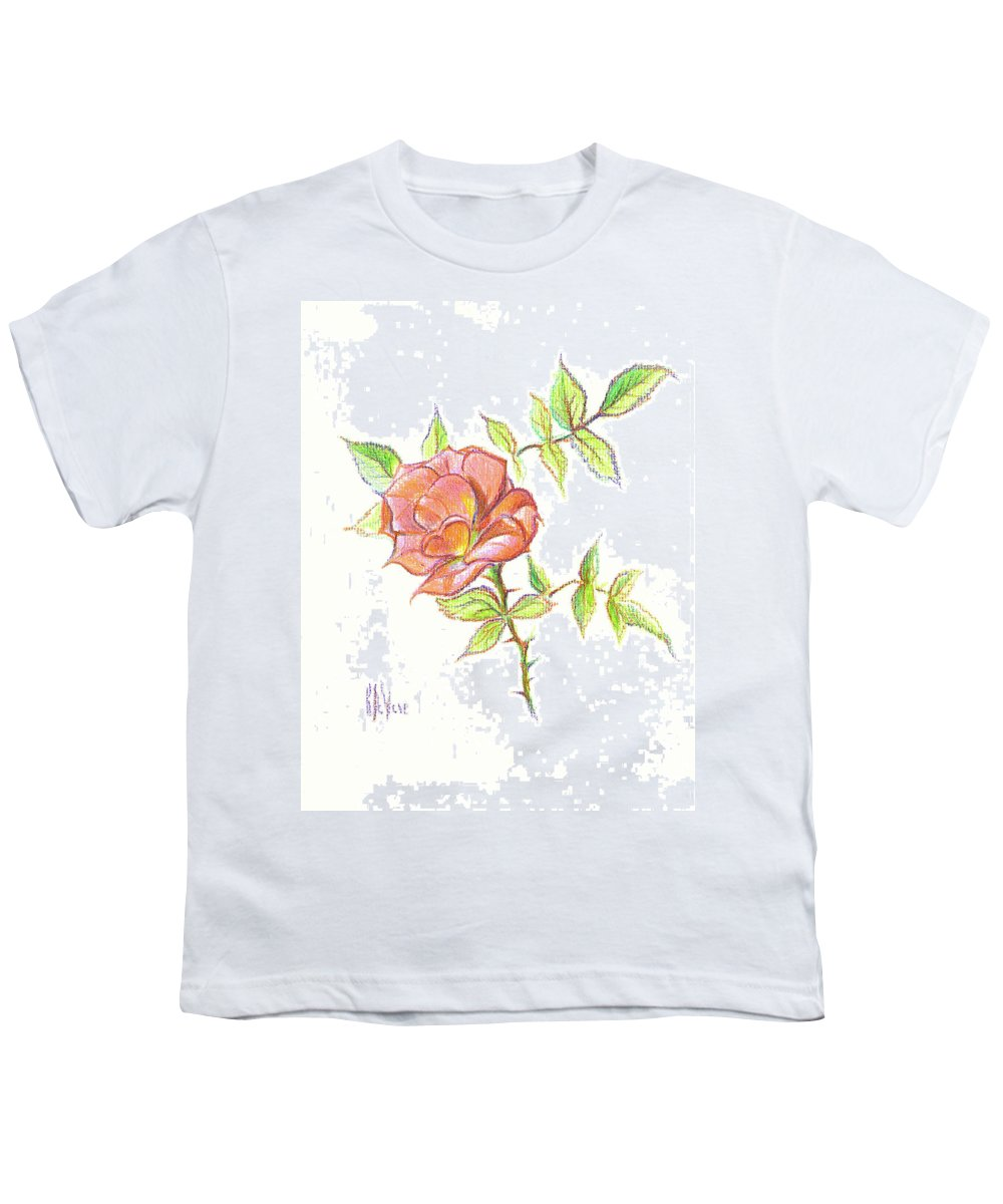 A Rose In Brigadoon Youth T-Shirt featuring the drawing A Rose In Brigadoon by Kip DeVore