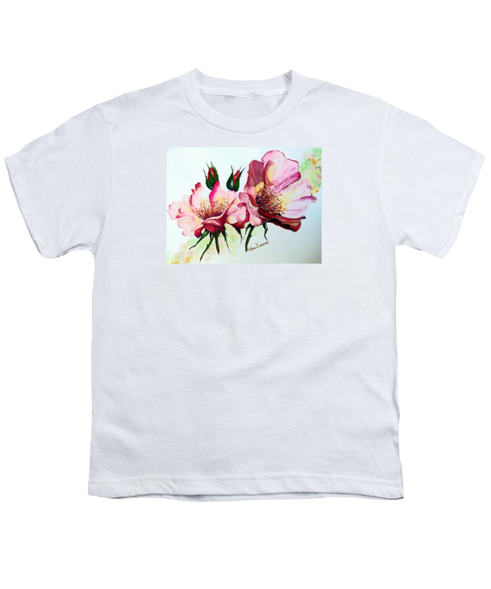 Flower Painting Youth T-Shirt featuring the painting A Rose Is A Rose by Karin Dawn Kelshall- Best