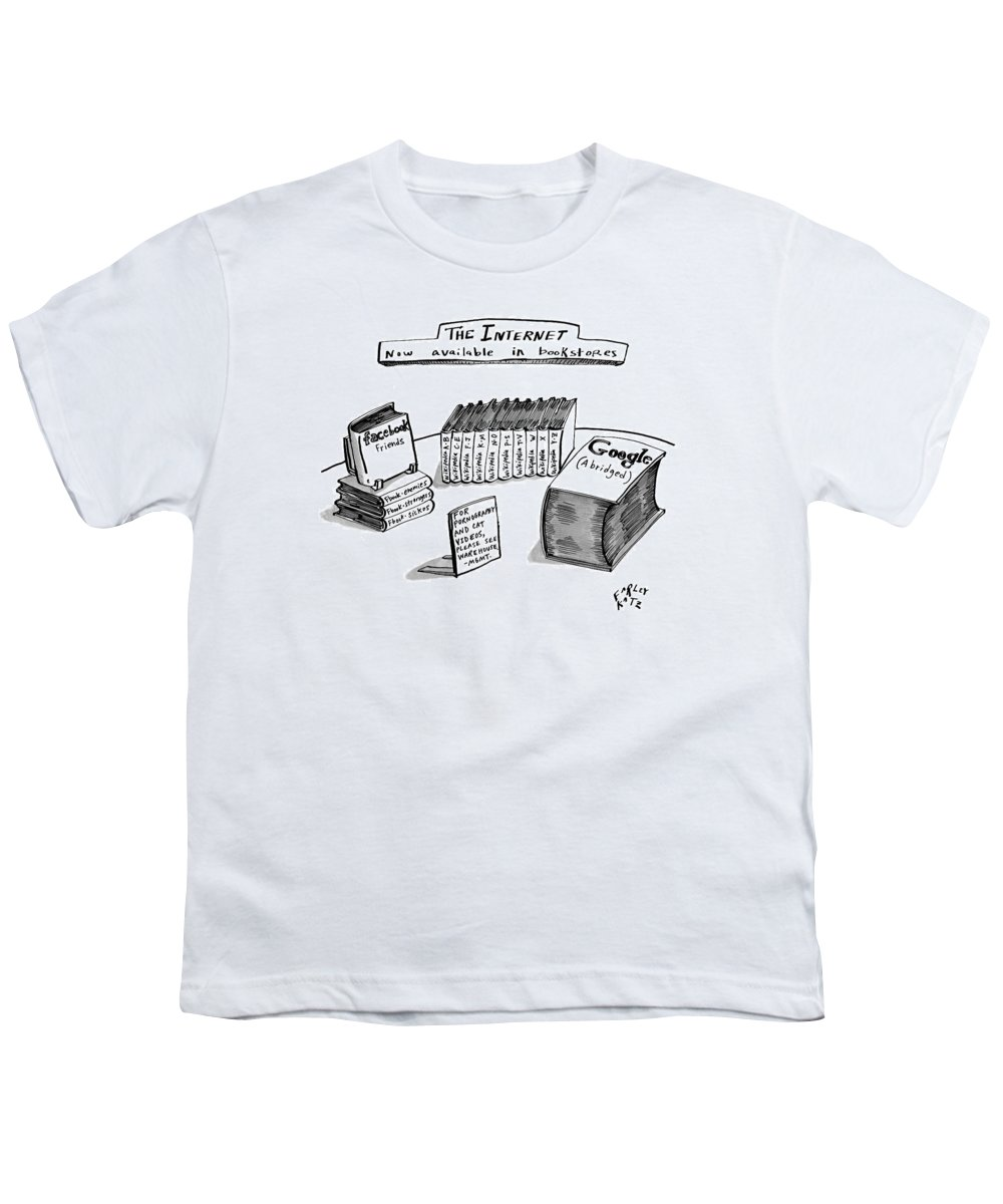 Books Youth T-Shirt featuring the drawing A Table Is Seen Covered With Books Relating by Farley Katz