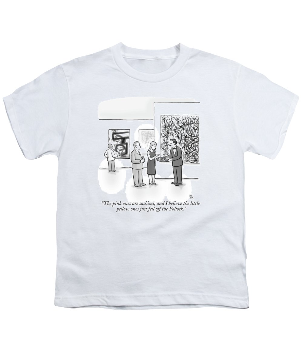 Art Galleries Youth T-Shirt featuring the drawing A Waiter Is Seen Speaking With A Woman In An Art by Paul Noth