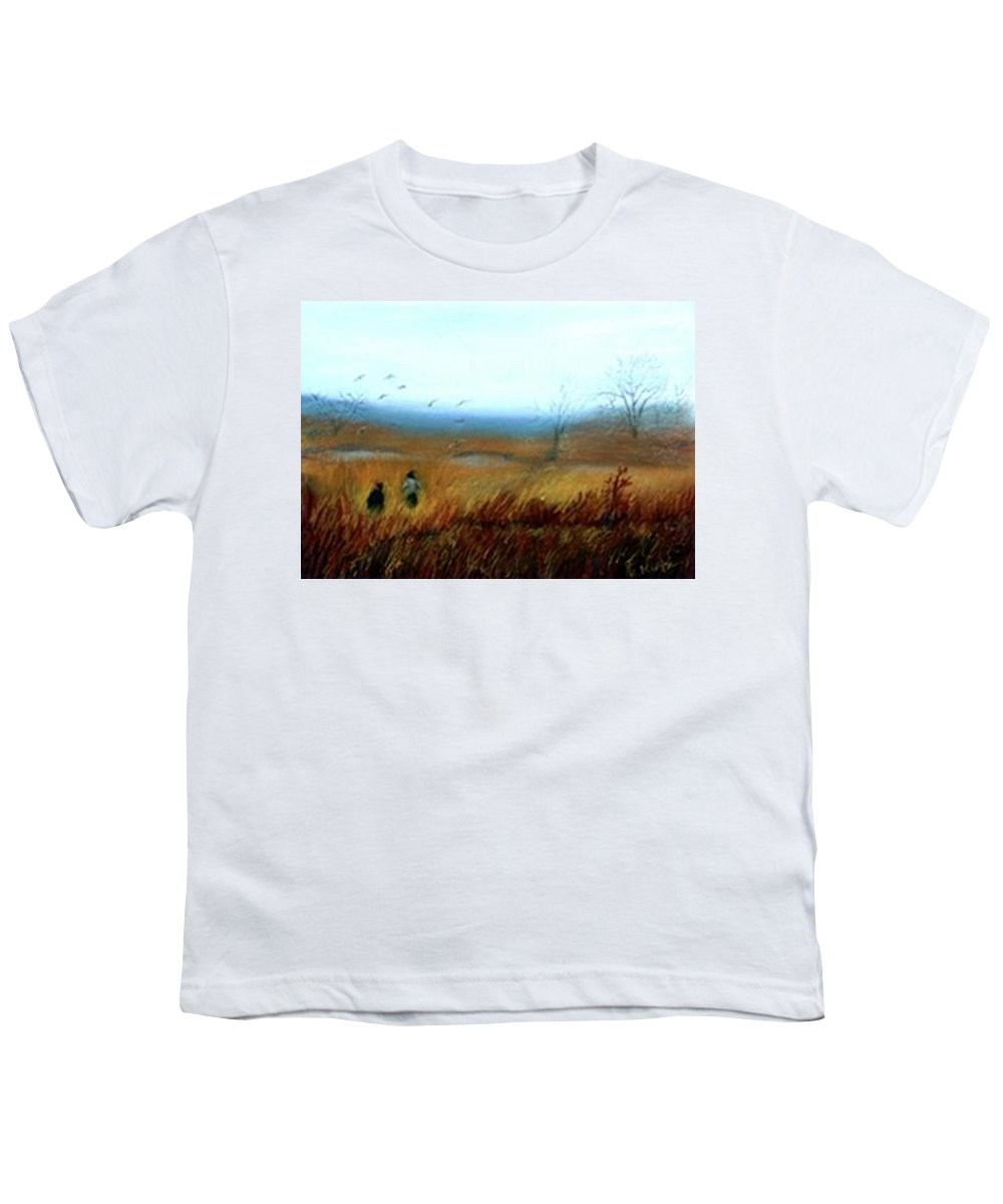 Figures Youth T-Shirt featuring the painting A Winter Walk by Gail Kirtz