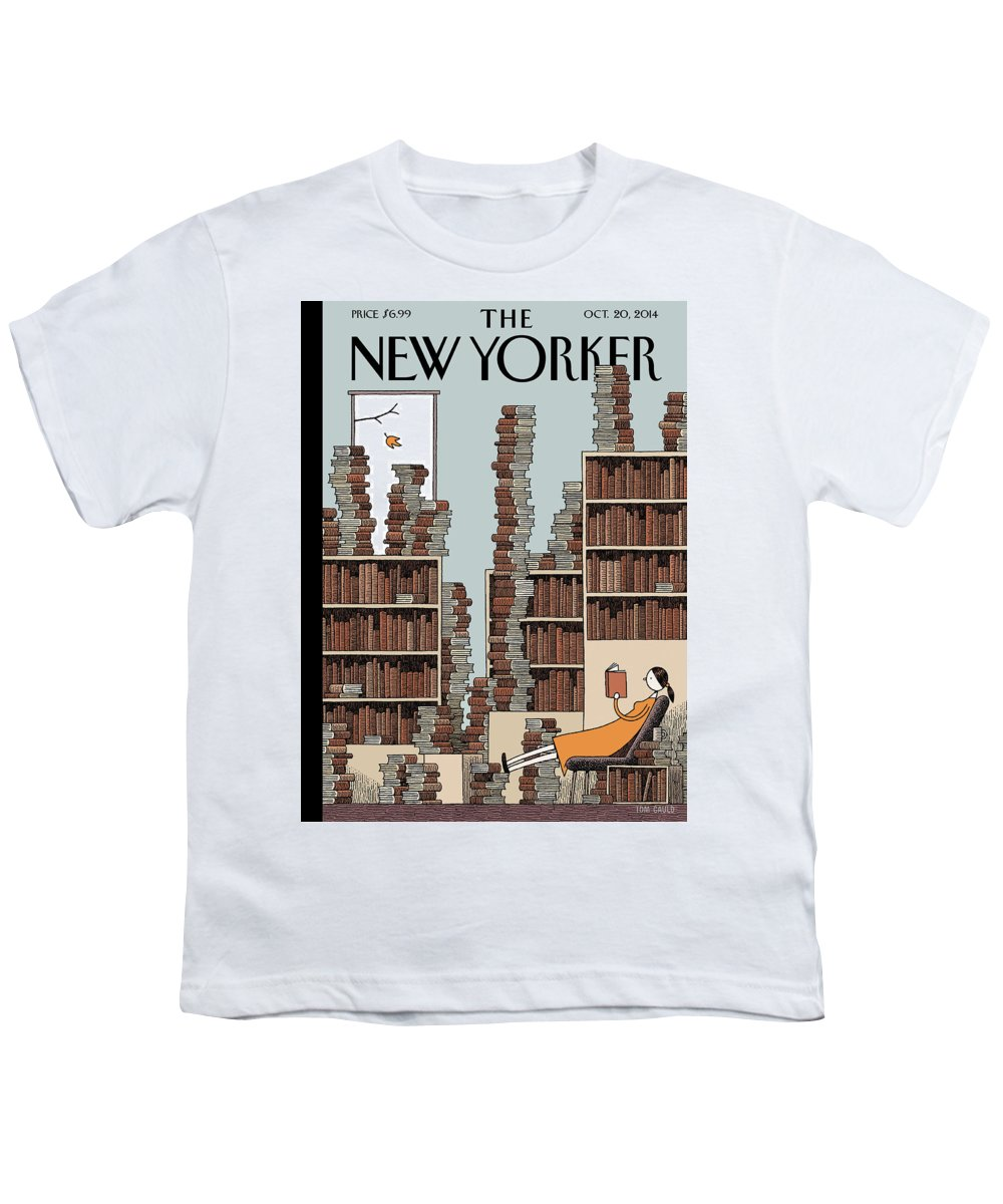 Books Youth T-Shirt featuring the painting Fall Library by Tom Gauld