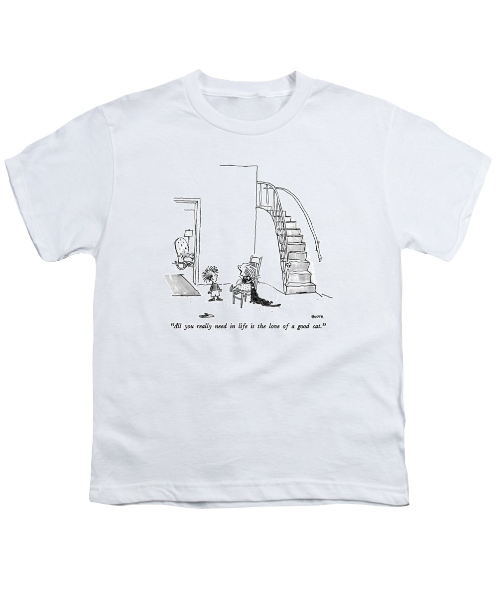 Animals Youth T-Shirt featuring the drawing All You Really Need In Life Is The Love Of A Good by George Booth
