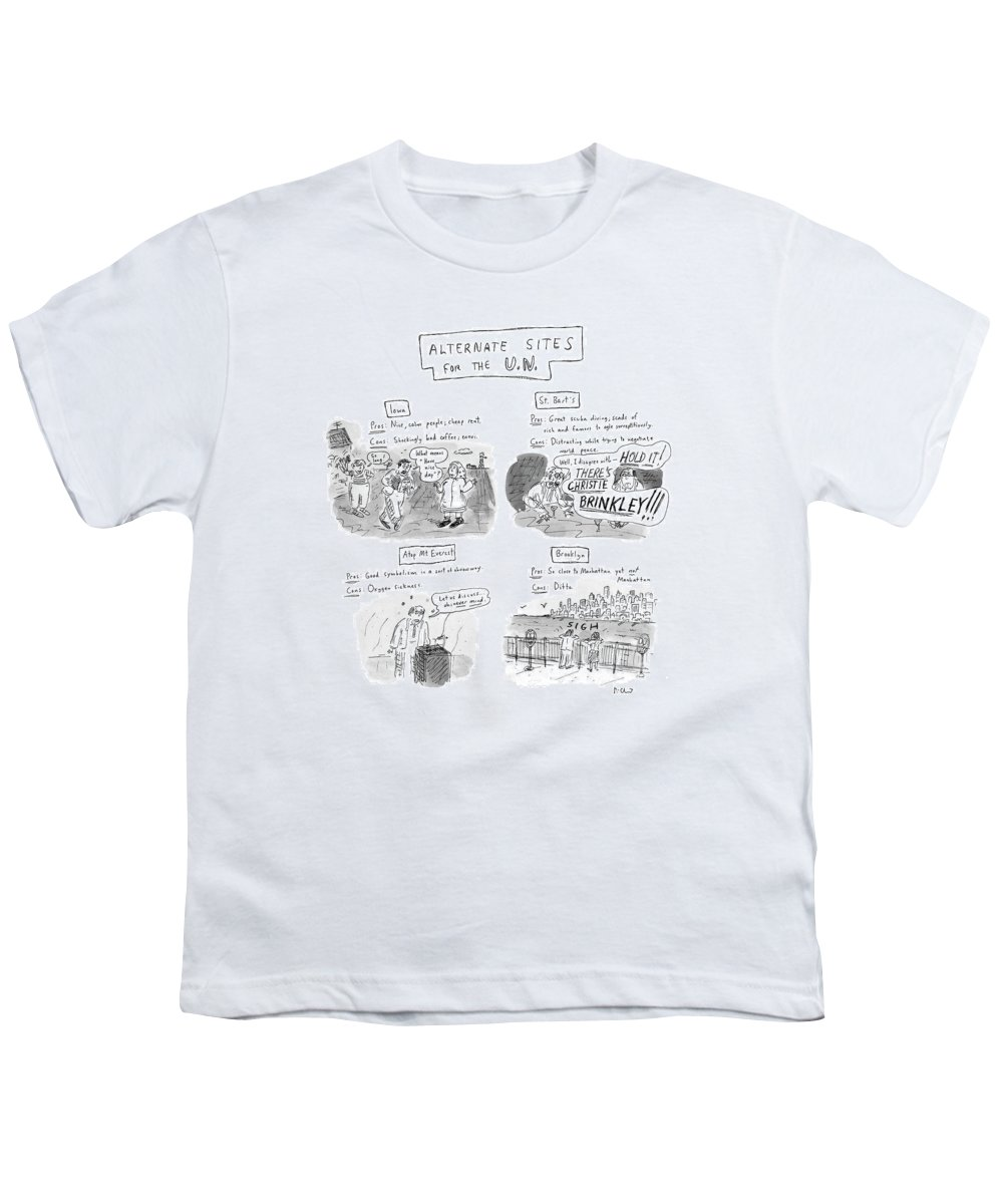 Keys: Politics Youth T-Shirt featuring the drawing Alternate Sites For The U.n by Roz Chast
