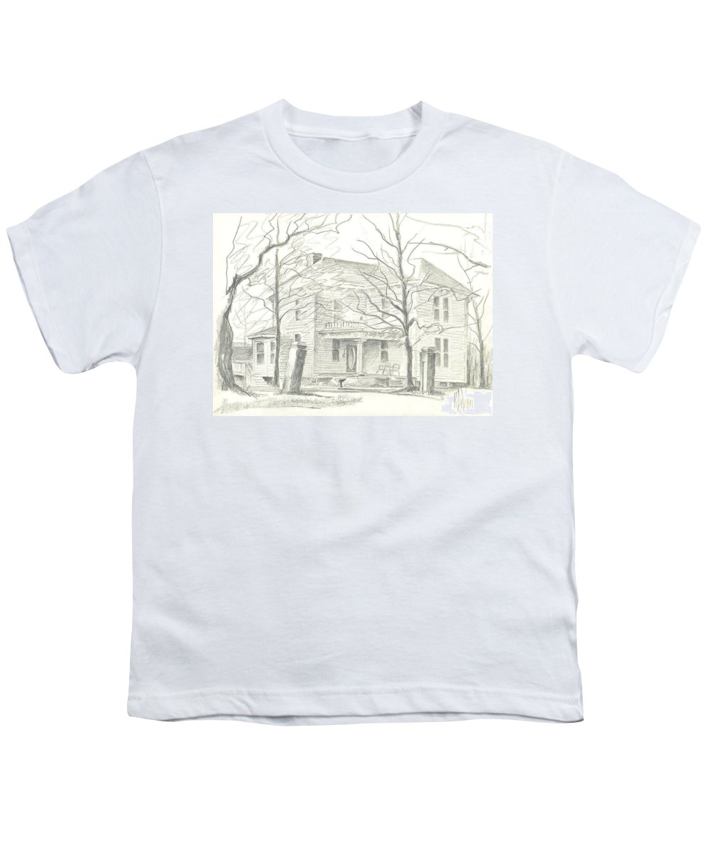 American Home Ii Youth T-Shirt featuring the drawing American Home II by Kip DeVore