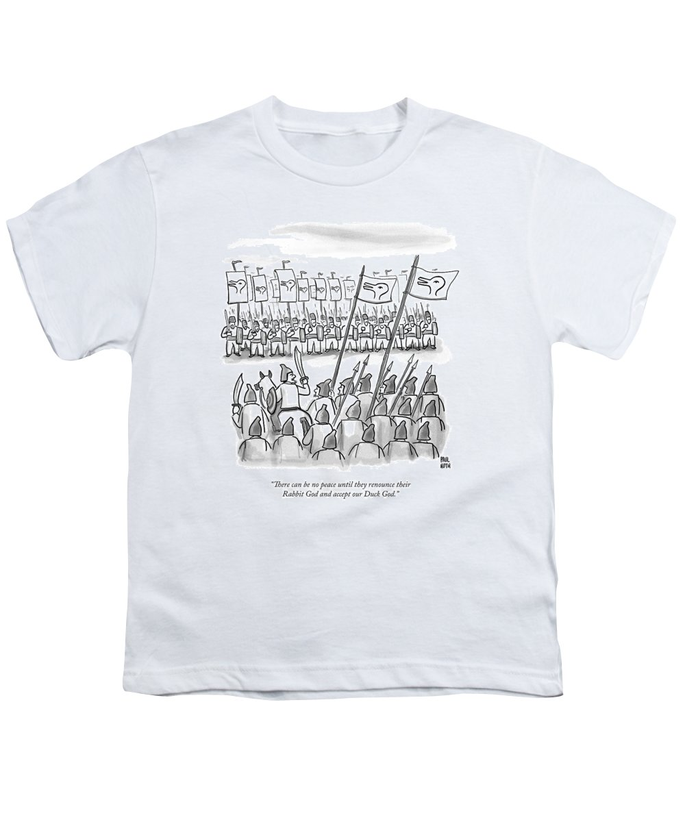 War Youth T-Shirt featuring the drawing An Army Lines Up For Battle by Paul Noth