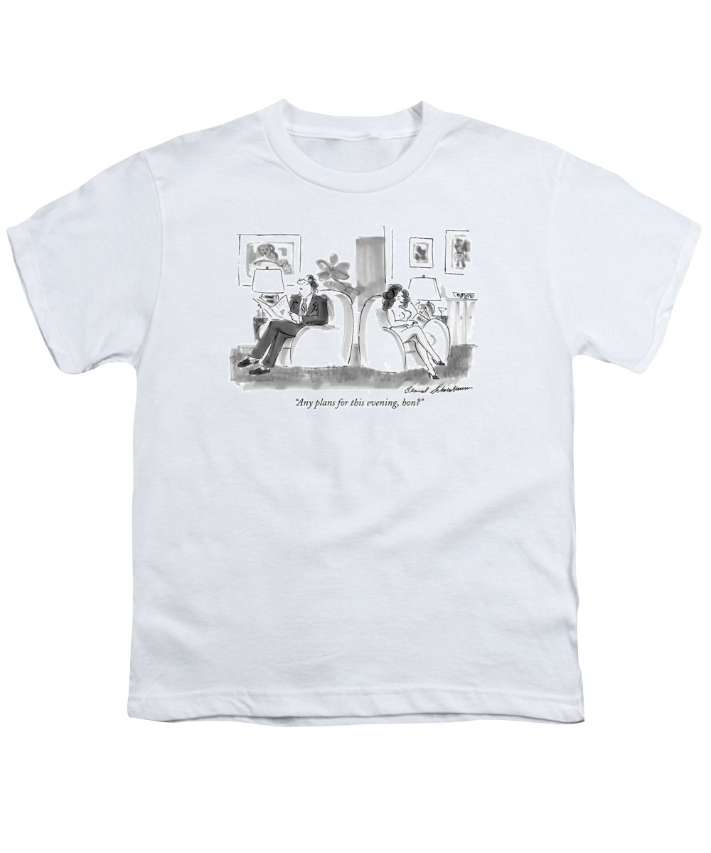 Sex Youth T-Shirt featuring the drawing Any Plans For This Evening by Bernard Schoenbaum