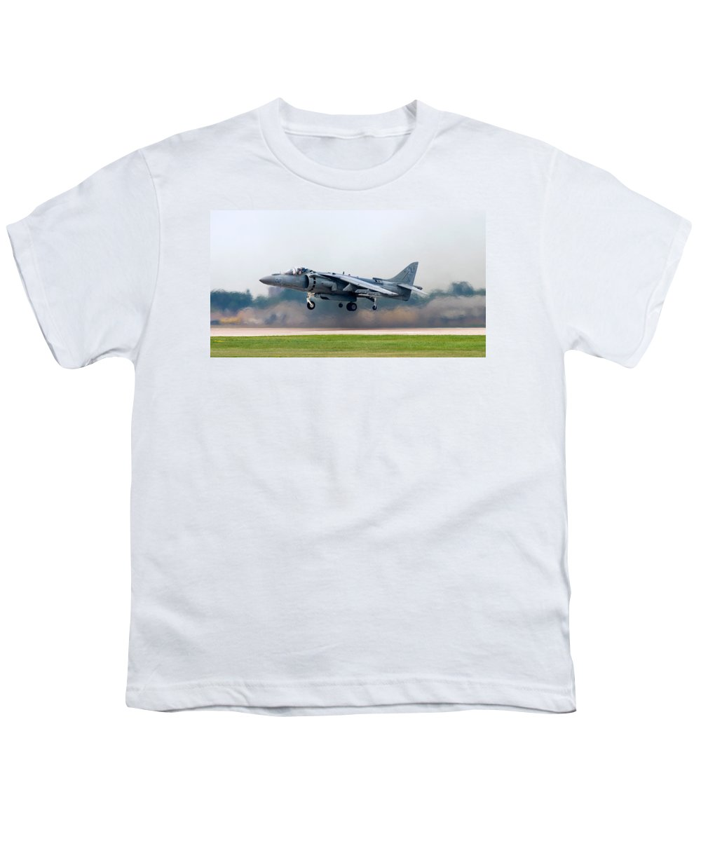 3scape Youth T-Shirt featuring the photograph Av-8b Harrier by Adam Romanowicz