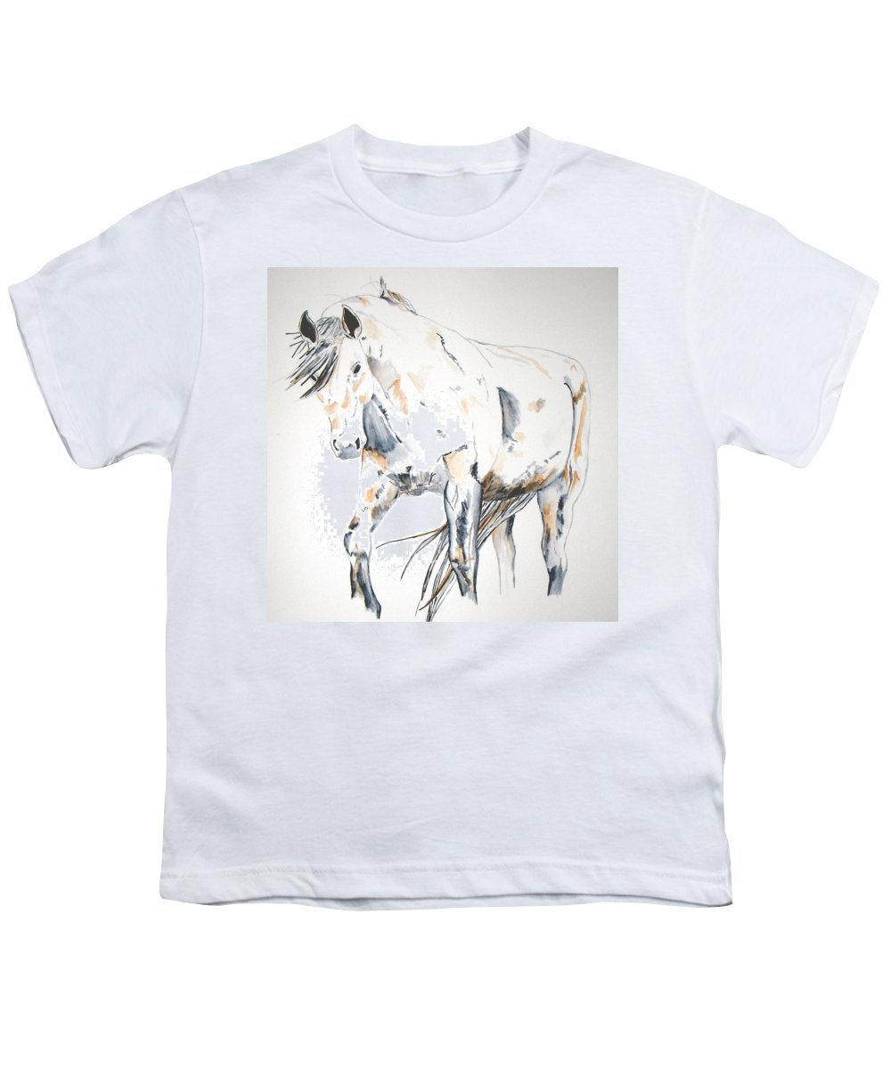 Horse Youth T-Shirt featuring the painting Beauty by Crystal Hubbard