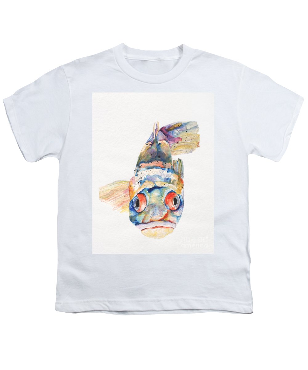 Pat Saunders-white Youth T-Shirt featuring the painting Blue Fish  by Pat Saunders-White