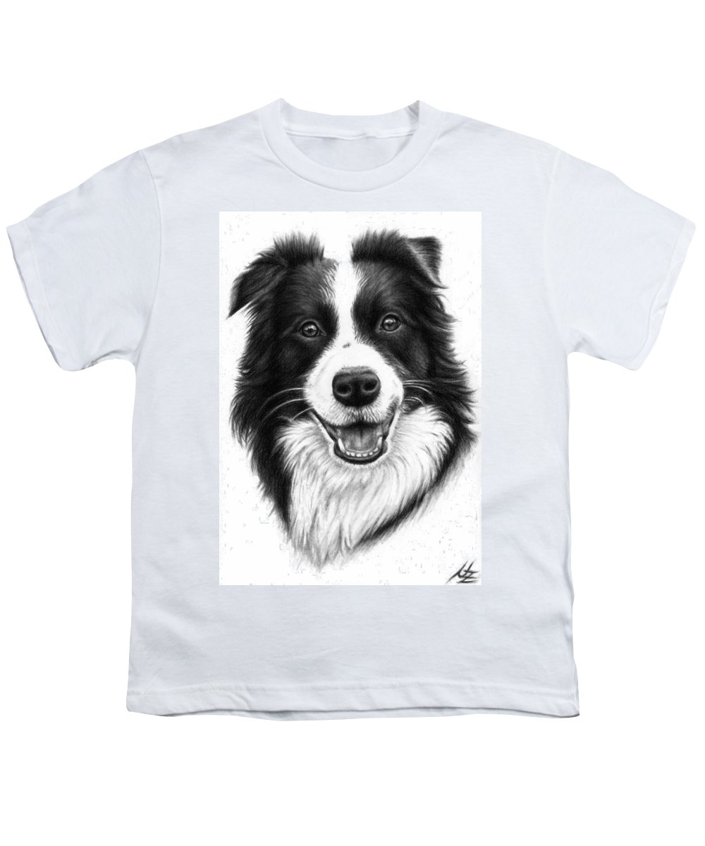 Dog Youth T-Shirt featuring the drawing Border Collie by Nicole Zeug