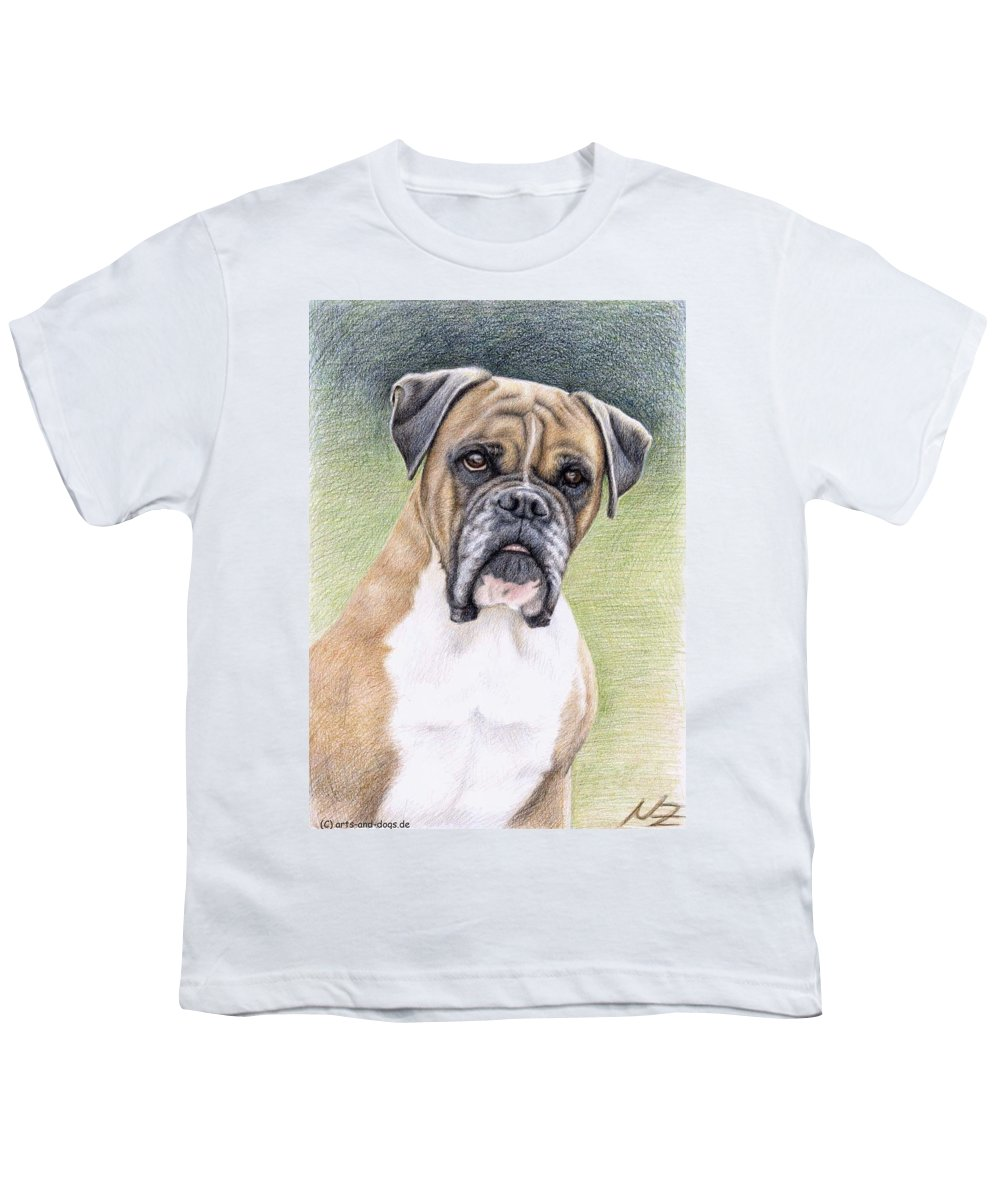 Dog Youth T-Shirt featuring the drawing Boxer Portrait by Nicole Zeug