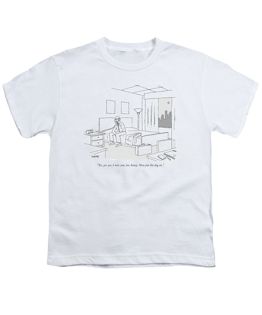Relationships Pets Travel Problems  (businessman Sitting On A Bed In Hotel Room Talking On The Phone.) 121246 Jzi Jack Ziegler Topziegler Youth T-Shirt featuring the drawing Businessman Sitting On A Bed In Hotel Room by Jack Ziegler