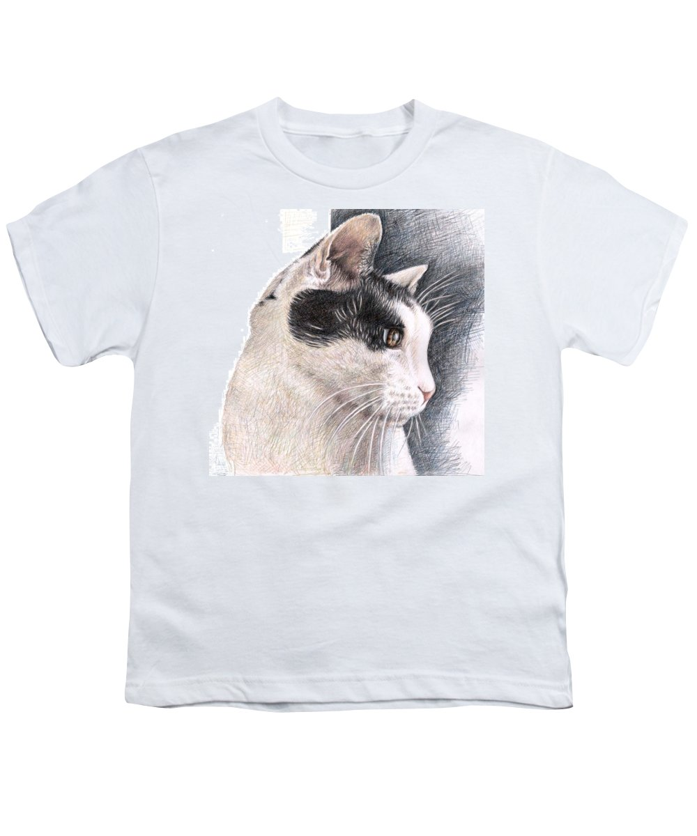 Cat Youth T-Shirt featuring the drawing Cats View by Nicole Zeug