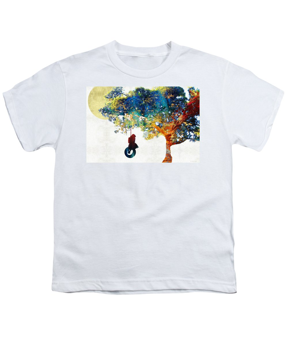 Tree Youth T-Shirt featuring the painting Colorful Landscape Art - The Dreaming Tree - By Sharon Cummings by Sharon Cummings