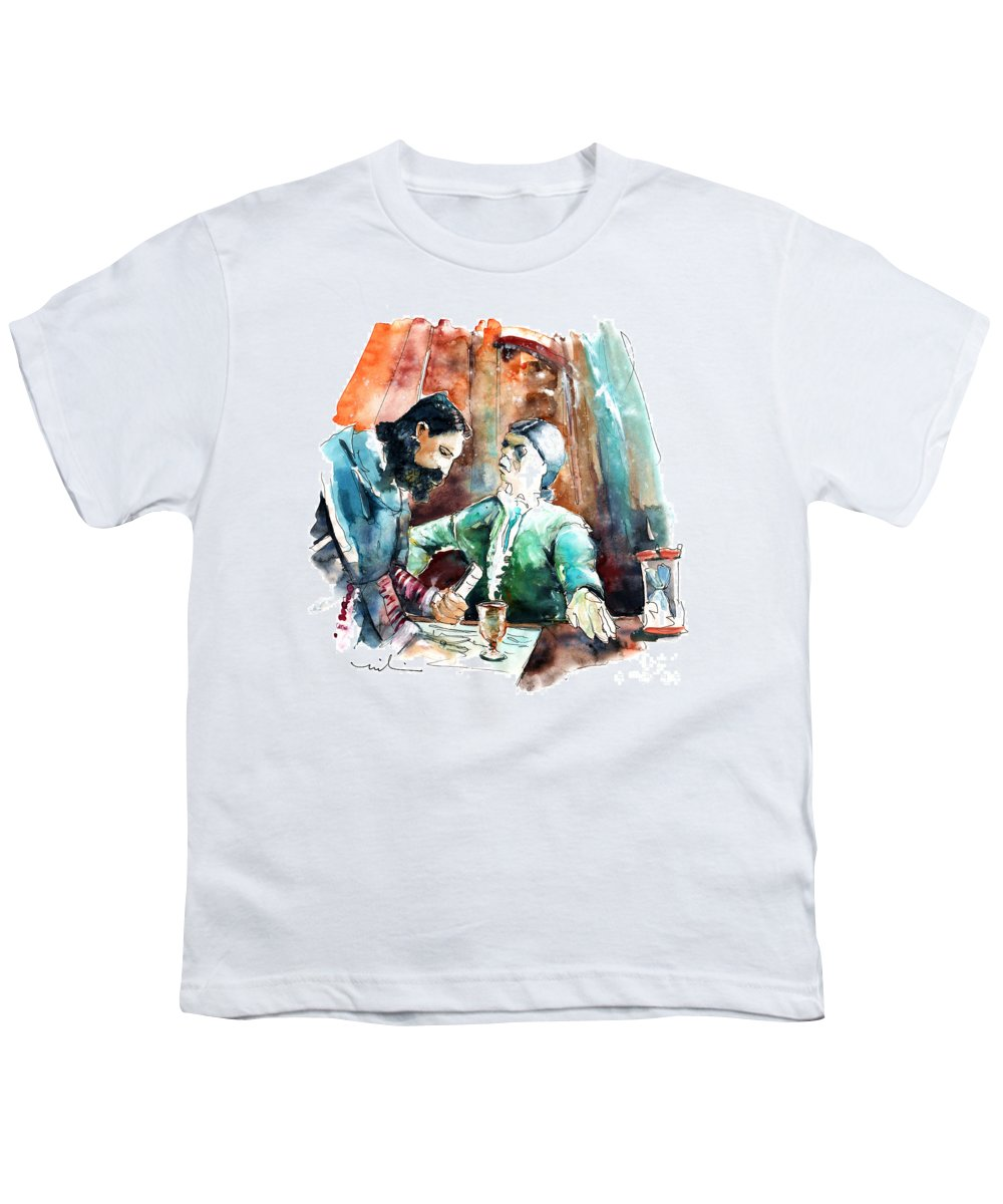Portugal Youth T-Shirt featuring the painting Conquistadores On The Boat In Vila Do Conde In Portugal by Miki De Goodaboom