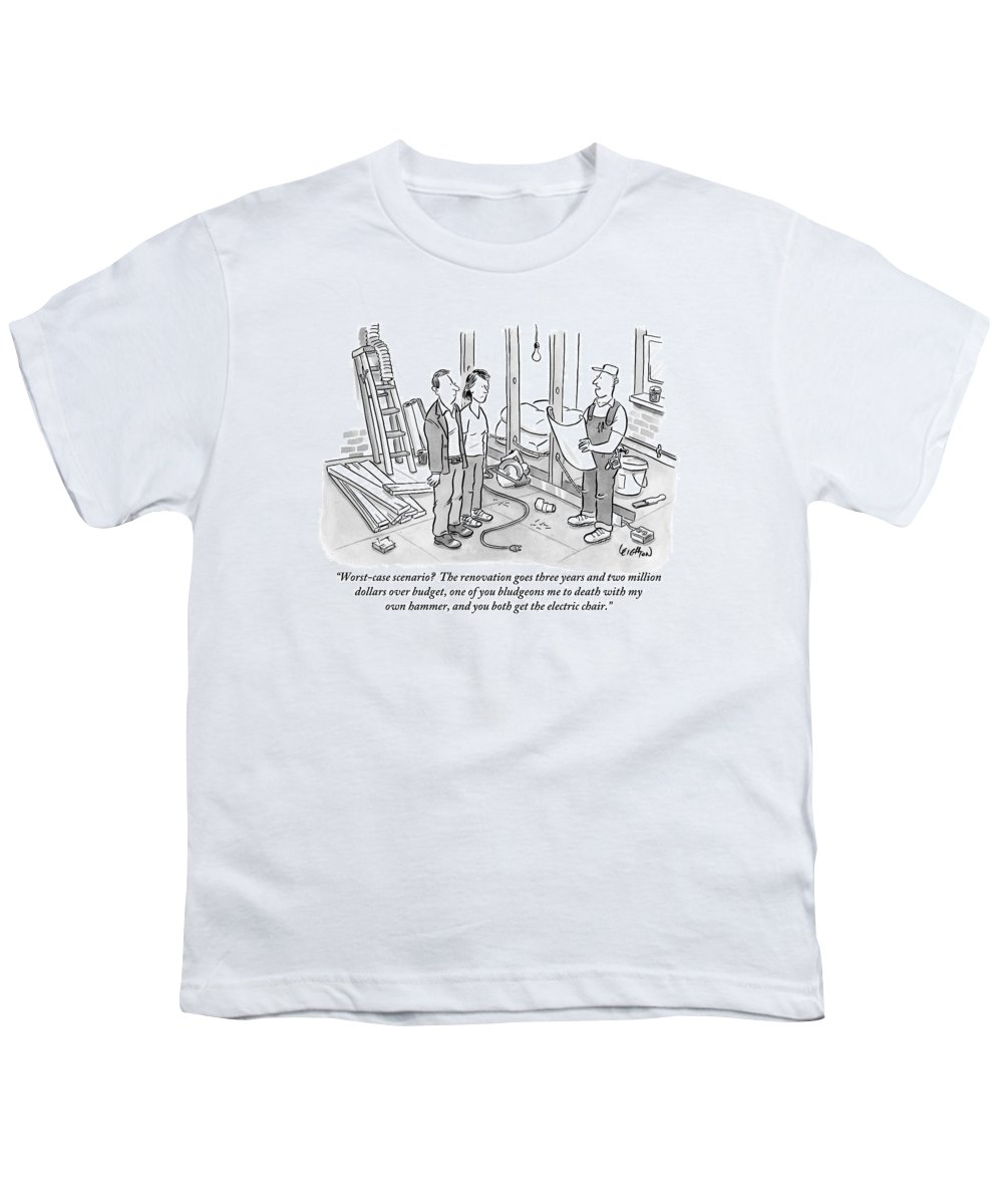Renovation Youth T-Shirt featuring the drawing Contractor Examining A Blueprint And Speaking by Robert Leighton