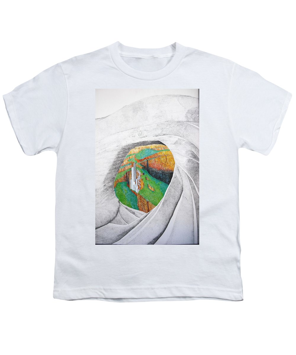 Rocks Youth T-Shirt featuring the painting Cornered Stones by A Robert Malcom