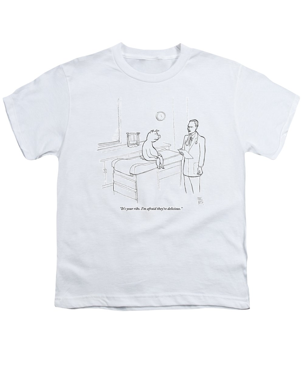 Pigs Youth T-Shirt featuring the drawing Doctor To Pig by Paul Noth