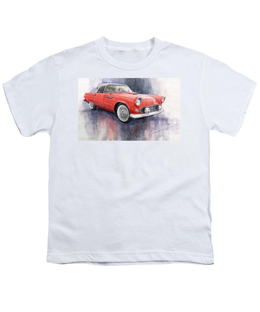 Watercolor Youth T-Shirt featuring the painting Ford Thunderbird 1955 Red by Yuriy Shevchuk
