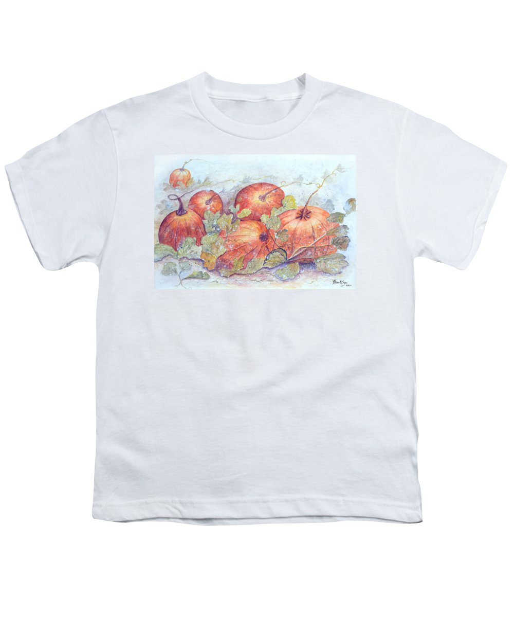 Pumpkin Patch Youth T-Shirt featuring the painting Frost on the Pumpkin by Ben Kiger
