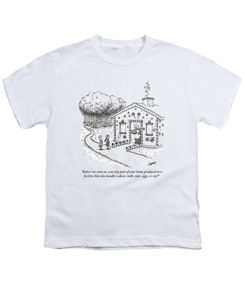 Allergies Youth T-Shirt featuring the drawing Hansel And Gretel Approach A Witch's Gingerbread by Tom Cheney