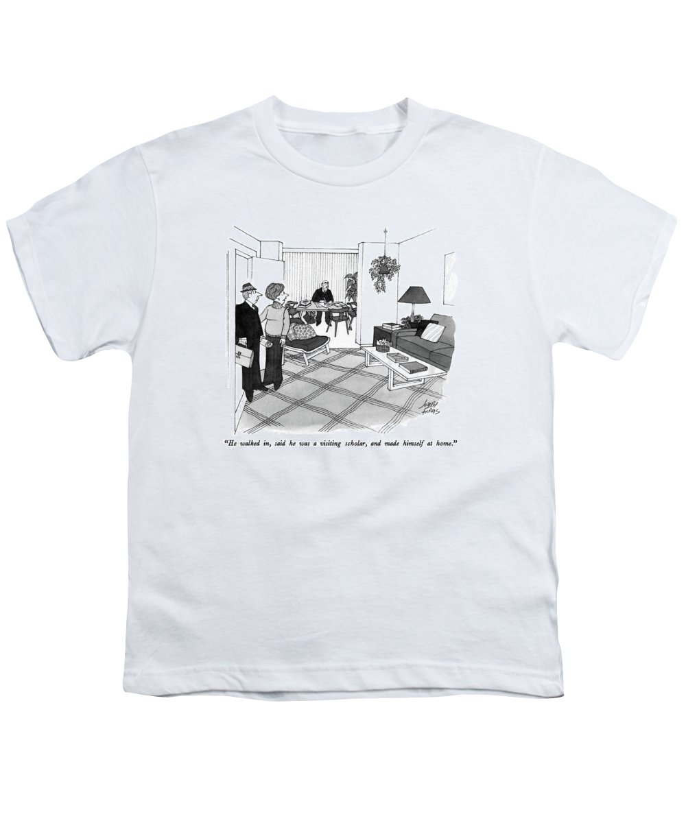 Wife To Husband Who Has Just Walked In Youth T-Shirt featuring the drawing He Walked by Joseph Farris