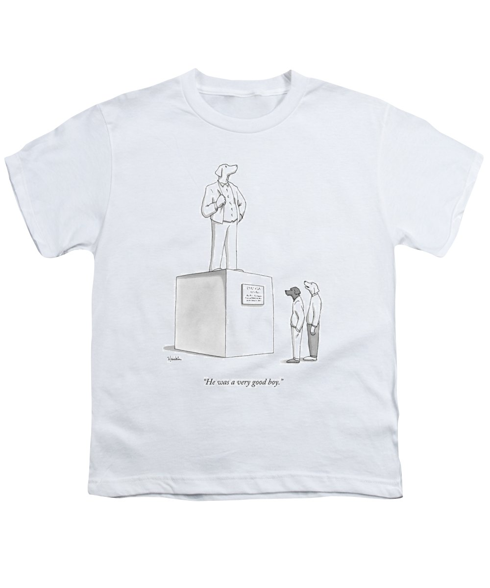 He Was A Very Good Boy. Youth T-Shirt featuring the drawing He Was A Very Good Boy by Charlie Hankin