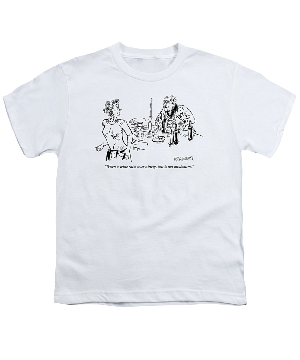 Wine Youth T-Shirt featuring the drawing Heavy-drinking Man Speaks To Woman Who Is Walking by William Hamilton