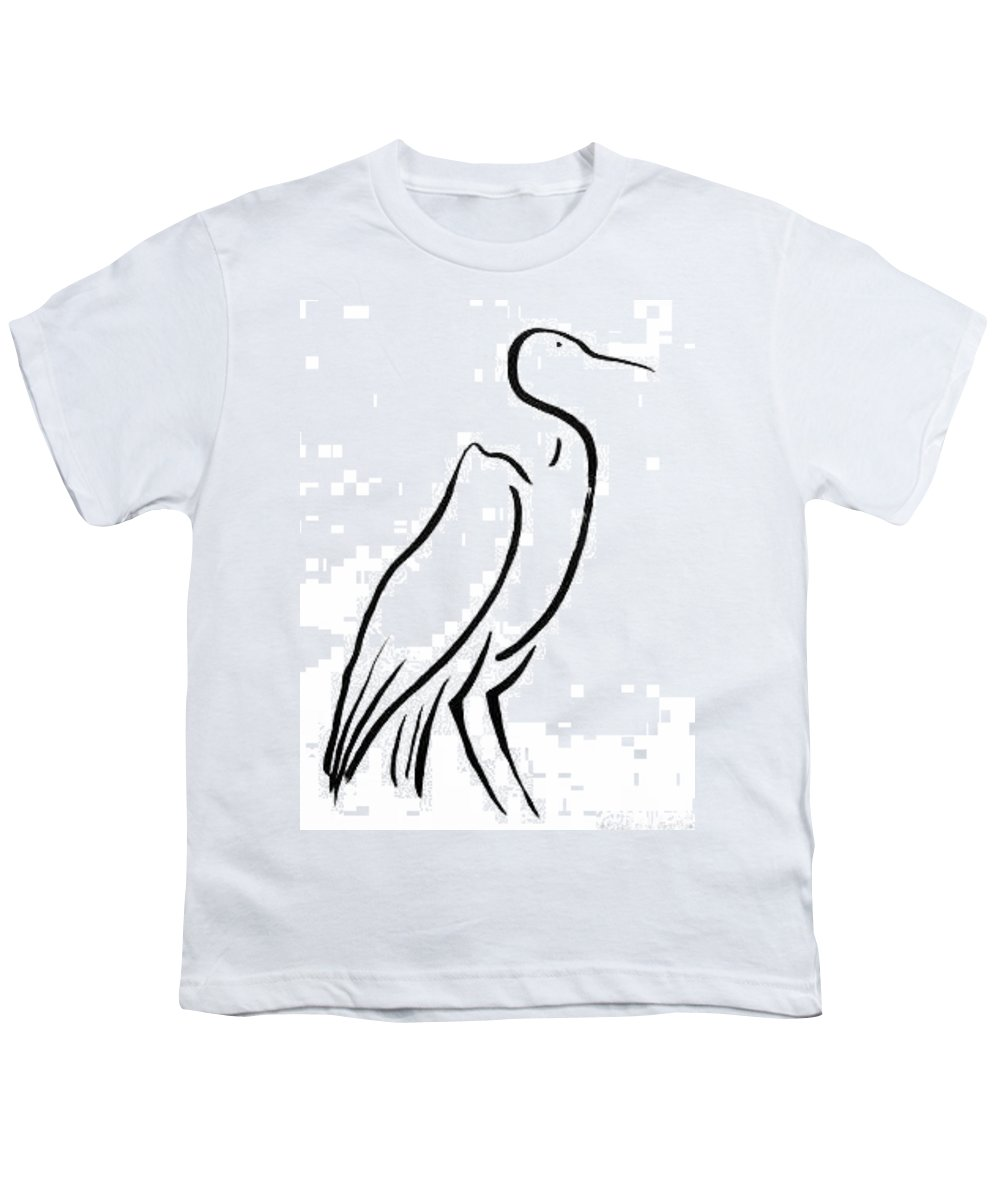 Calligraphy Youth T-Shirt featuring the drawing Heron by Micah Guenther