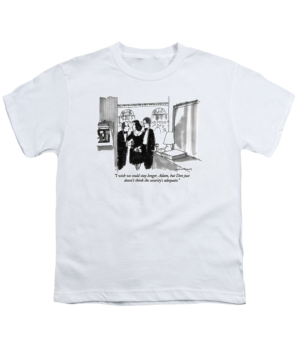 (couple Leaving Dinner Party) Couples Youth T-Shirt featuring the drawing I Wish We Could Stay Longer by Michael Crawford
