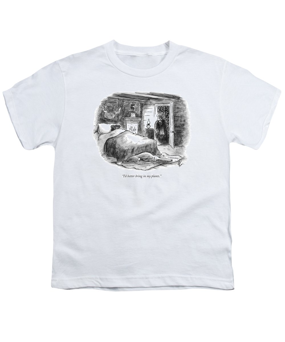 Plants Youth T-Shirt featuring the drawing I'd Better Bring In My Plants by Frank Cotham