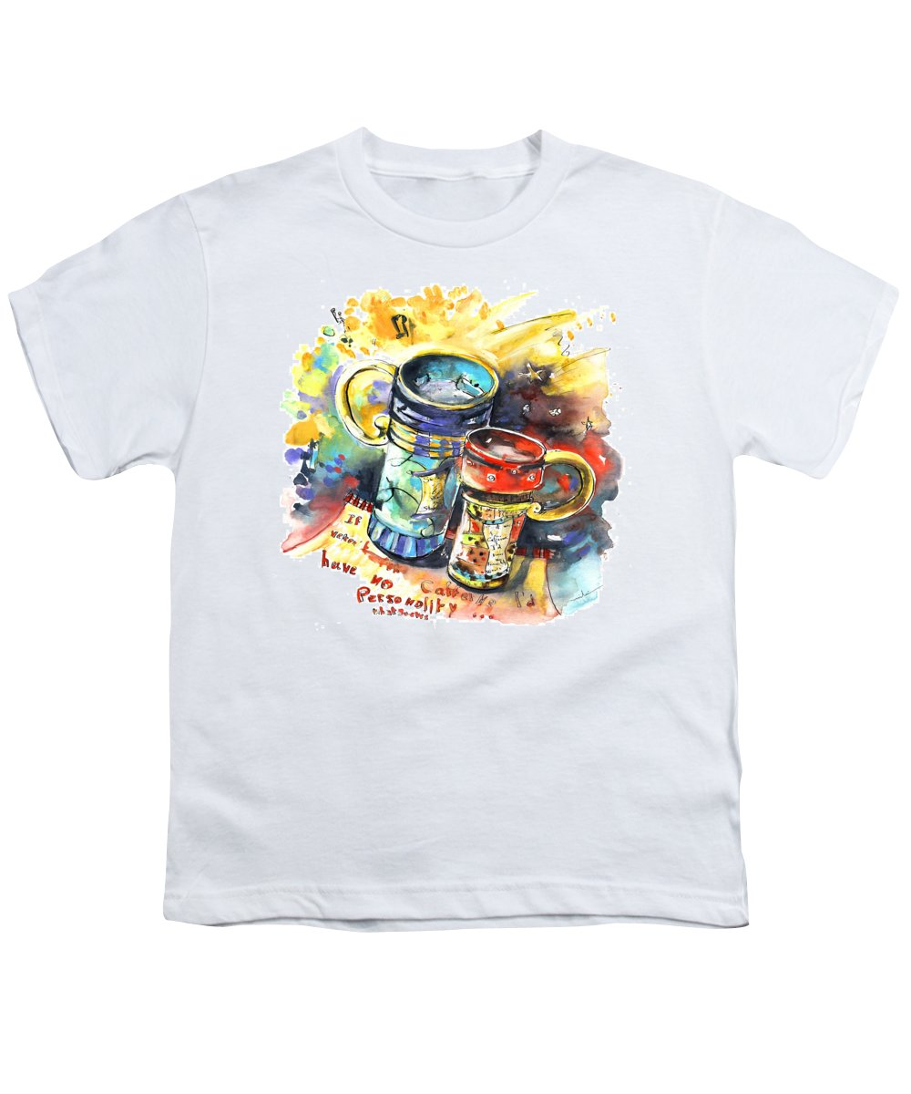 Cafe Crem Youth T-Shirt featuring the painting If It Were Not For Caffeine by Miki De Goodaboom