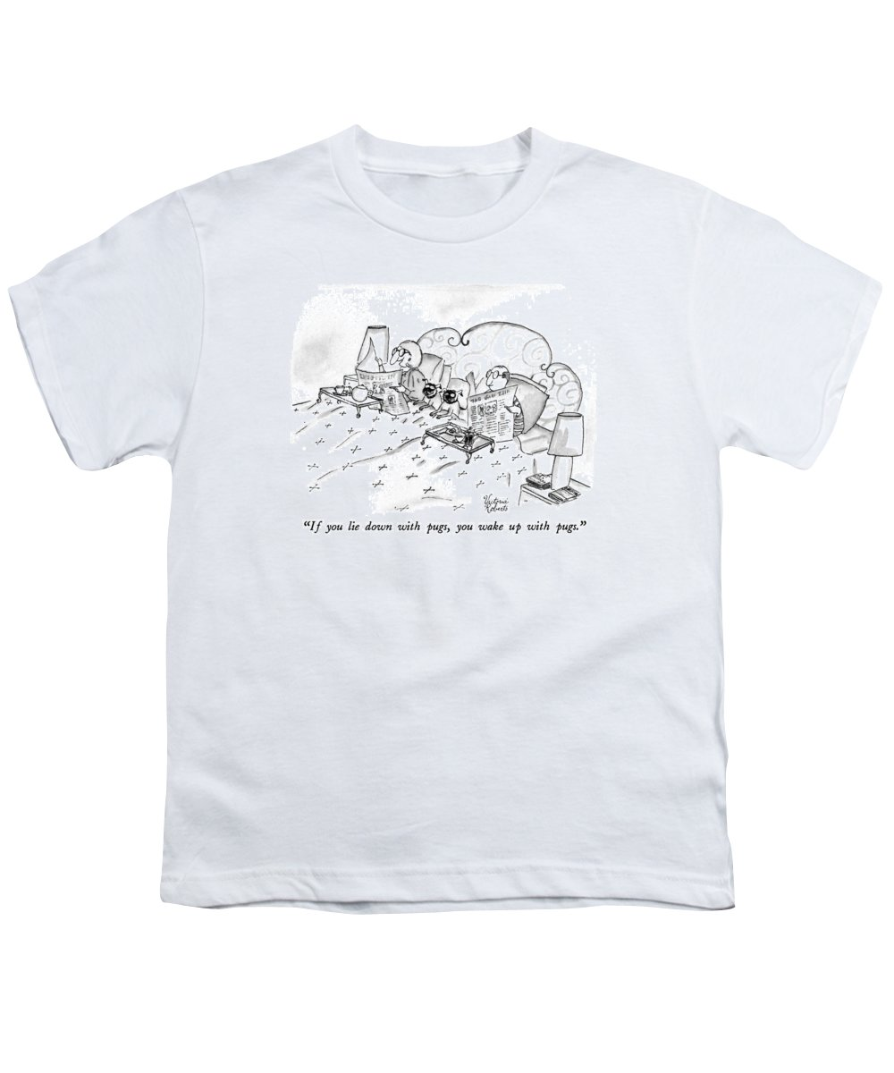 Animals Youth T-Shirt featuring the drawing If You Lie Down With Pugs by Victoria Roberts