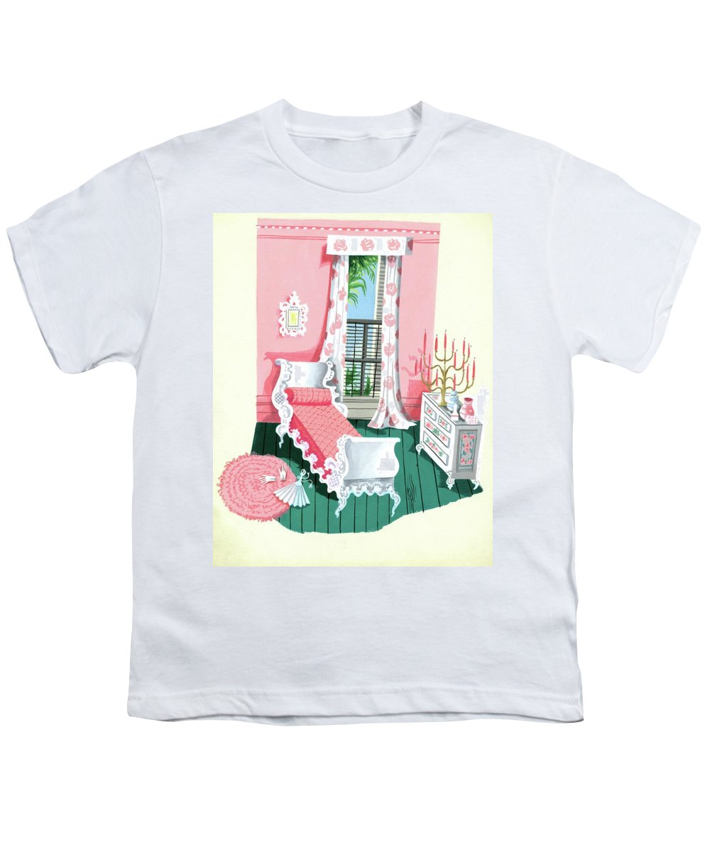 Bedroom Youth T-Shirt featuring the digital art Illustration Of A Victorian Style Pink And Green by Edna Eicke